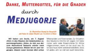 Bericht der Gebetsaktion Medjugorje im Heft 115