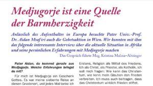 Bericht der Gebetsaktion Medjugorje im Heft 119