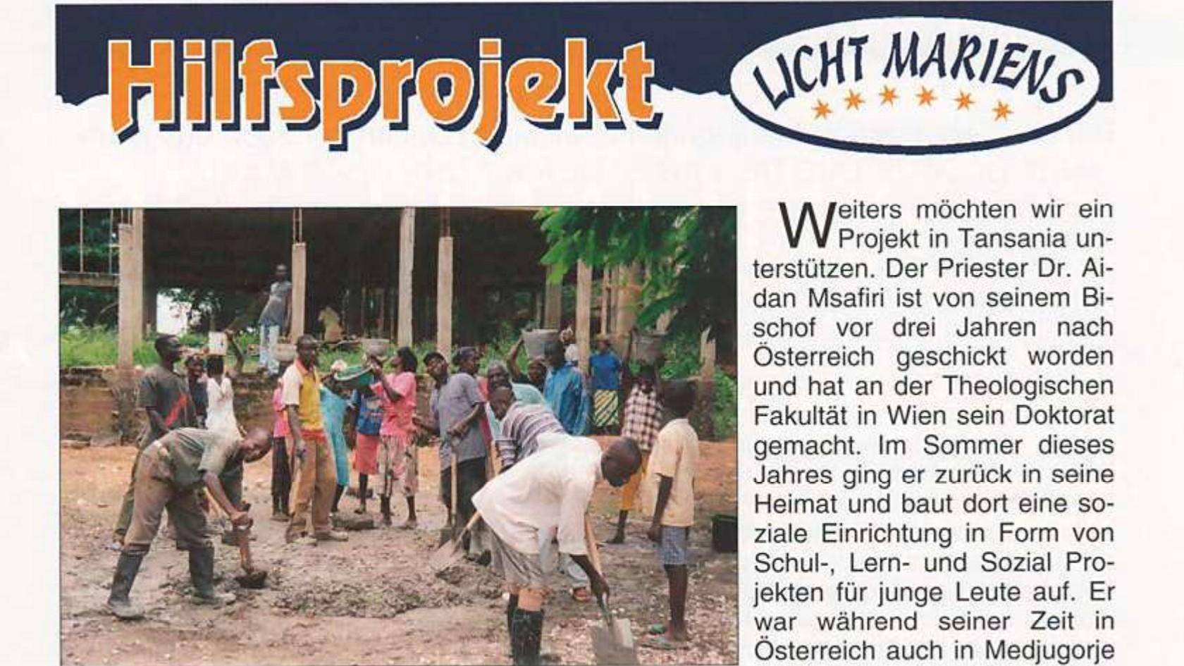 Hilfsprojekt Licht Mariens 2003