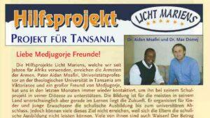 Bericht der Gebetsaktion Medjugorje im Heft 89