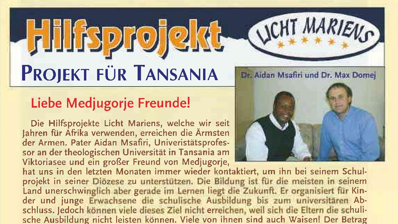 Hilfsprojekt Licht Mariens 2008